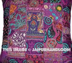 24x24 purple decorative throw pillows indian patchwork sofa cushions