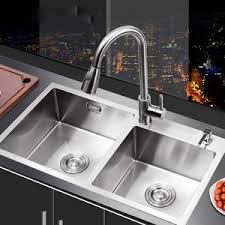 Nickel Brushed Stainless Steel Double Round Bowls Kitchen Sinks - Kitchen double sink