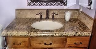 bathroom countertops ideas beige tike backsplash and white sink also brown granite