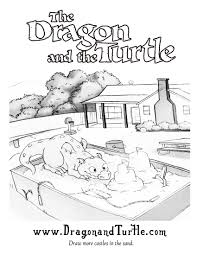 the dragon u0026 the turtle coloring pages