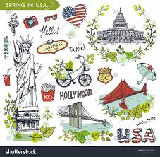 Colorado travel symbols images Spring usafloral decorvector doodlesamerican travel symbols stock jpg