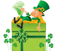 st patricks day decor with shamrocks and leprechaun png clipart
