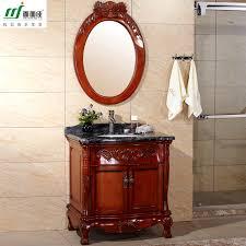 Solid Wood Bathroom Cabinet Friendly Water Based Paint Furniture Minimalist Modern Oak Floor