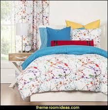 Newsprint Comforter Decorating Theme Bedrooms Maries Manor Splatter Paint Bedroom