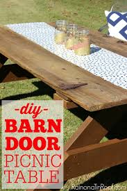 Free Plans For Building A Picnic Table by How To Build A Picnic Table Out Of A Barn Door
