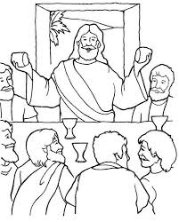 Last Supper Coloring Pages Jesus Sharing Bread And Wine In The Last Supper Coloring Page