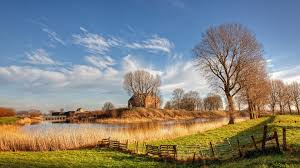 river pastures sunlight holland marvelous landscape grass
