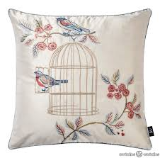 vintage charm blue bird cage cushion shabby chic cushion