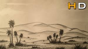How To Draw Landscapes by How To Draw A Desert Landscape With Pencil Step By Step