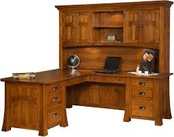 Wood Corner Desks For Home Awesome Solid Wood Bridgefort Mission Corner Desk And Topper