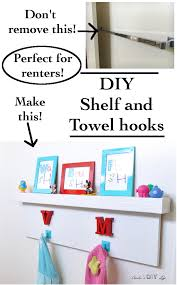 Towel Shelves For Bathroom by Rental Bath Makeover Diy Towel Hooks And Shelf Anika U0027s Diy Life