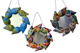 zeta handcrafted papier mache mirror ornaments set of 3