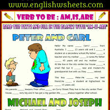 verb to be esl printable gap fill exercise worksheet for kids