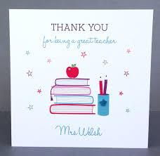 A Letter To Teacher Thanking You Handmade Personalised Teacher Thank You Card Books Just For Cards