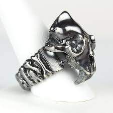 sabre tooth tiger skull oxidized sterling silver bones band ring