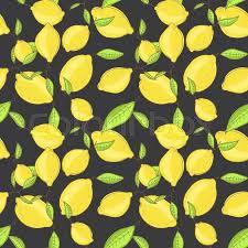 seamless lemon pattern green lemon fruits with leaf on branch dark black background citrus