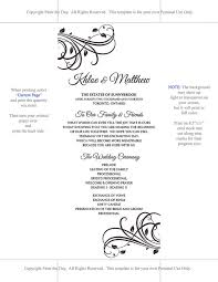 Wedding Program Dimensions Diy Wedding Program Template Trumpet Flourish
