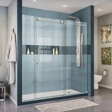 worthy frameless sliding shower doors in stunning home interior
