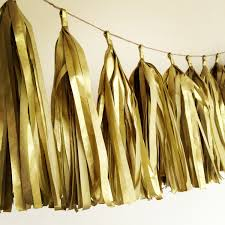 gold metallic tissue paper tassel garland golden wedding