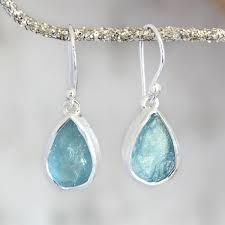 aquamarine drop earrings designer aquamarine gemstone silver earrings gifts for women