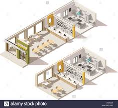 Fast Food Restaurant Floor Plan Vector Isometric Low Poly Fast Food Restaurant Stock Vector Art