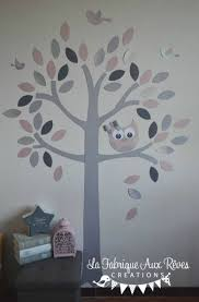 arbre chambre bébé stickers arbre poudré argent gris foncé gris clair hibou