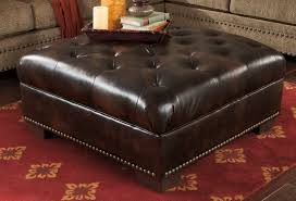 tufted leather chair and ottoman furniture stunning tufted leather oversized ottoman with tray and