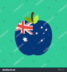 Austrslia Flag Apple Australia Flag Australian National Fruit Stock Vector