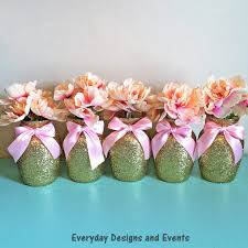 centerpiece for baby shower 5 gold pink vases baby shower decorations baby shower