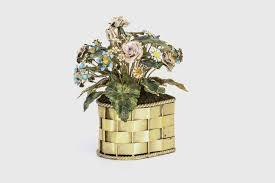silver flowers cartier enamel gilt silver flower basket for sale at 1stdibs