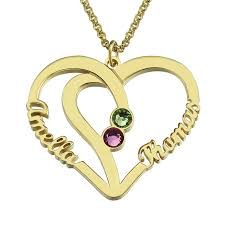 custom heart necklace customized heart names necklace birthstone necklace gold color