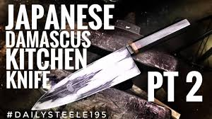 japanese damascus kitchen knife part 2 youtube