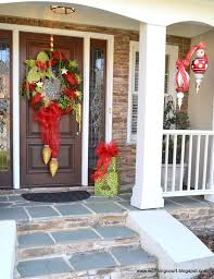 exterior imposing red painted christmas front door decorations