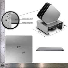 stainless square drink coasters set of 4 pro chef kitchen tools