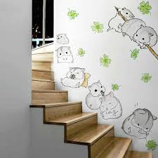 Cute Cabinet Hamster Wall Sticker Cute Pets Animal Stairs Cabinet Kids Room