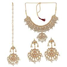 pearls necklace set images Twella creations kundan and pearls necklace set with maange tika jpg