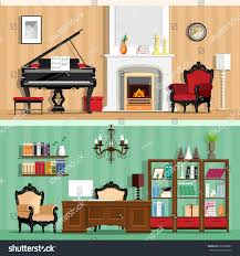 set colorful vector interior design house stock vector 353399882