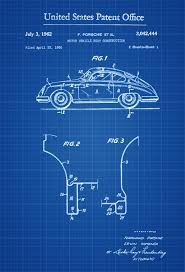 vintage porsche blue 1962 porsche patent patent print wall decor automobile decor
