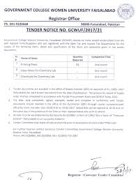 tender notice printing press glass ware chemicals for chemistry