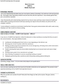 Truck Driver Resume Example by Fork Lift Truck Operator Cv Example Forums Learnist Org