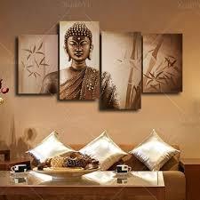 Buddha Home Decor 4 Panel Abstract Printed Buddhism Buddha Painting Canvas Art Home