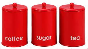 3 set kitchen canister storage set tea coffee sugar jars red buy
