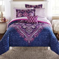 Bedding Mainstays Grace Medallion Purple Bed In A Bag Complete Bedding Set