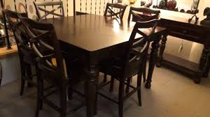 High Top Kitchen Table And Chairs Tall Dining Table Rich Walnut Counter Height Dining Room Set