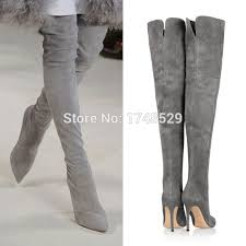 womens boots grey suede fall pointed toe high heel thigh heel boots gray suede ultra