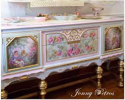 jonny j petros art gallery petros my paintings art angels repainted my buffet a vintage chair and recovered it with new fabric i painted two long wall murals on each side of buffet and used square mirror tiles