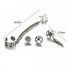 earring stud set bodhi boho ear piercing jewelry antiqued silver 4 pieces earring