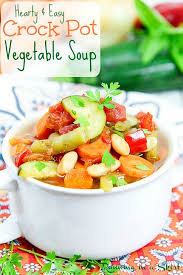 easy crock pot vegetable soup running in a skirt