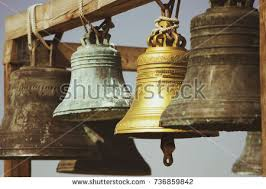 large church bells hanging outside stock photo 736859842