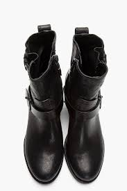 black leather motorcycle boots rag u0026 bone black leather harper moto boots in black lyst